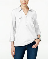 Karen Scott Petite Utility Polo Top, Only at Macy's