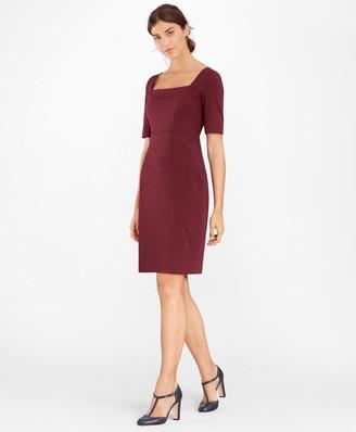 Brooks Brothers Stretch-Wool Square-Neck Sheath Dress