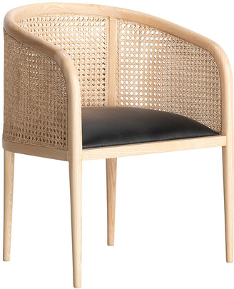 Kam Ce Kam - Mera Double Cane Dining Chair - Black Leather/Natural