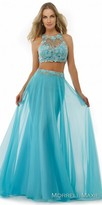 Morrell Maxie Illusion Floral Applique Two Piece Chiffon Evening Dress