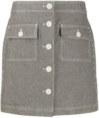 YMC Striped Button-Up Skirt