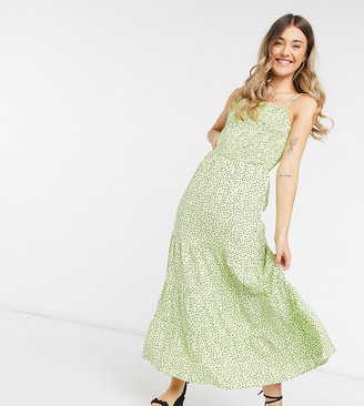 Wednesday's Girl maxi cami dress with shirred bodice in ditsy heart print