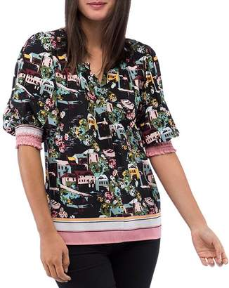 Bobeau B Collection by Valerie Printed Puff-Sleeve Blouse