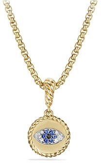David Yurman Evil Eye Amulet with Diamonds and Blue Sapphire in 18K Gold