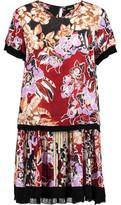 Just Cavalli Pleated Printed Voile Mini Dress