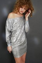 Silence & Noise Silence + Noise Slouchy Metallic Off-The-Shoulder Mini Dress