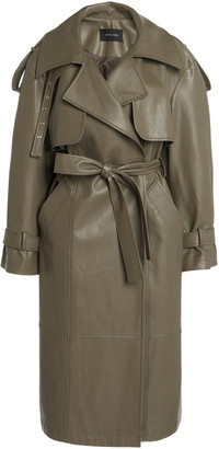 Low Classic Belted Faux Leather Trench Coat