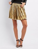 Charlotte Russe Metallic Micro Pleated Skater Skirt