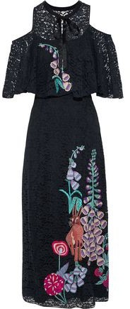 Temperley London Farewell Cold-Shoulder Floral-Embroidered Lace Midi Dress