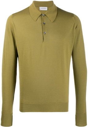 John Smedley Long-Sleeved Knitted Polo Shirt
