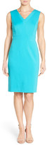 Classiques Entier Sleeveless Italian Ponte V-Neck Sheath Dress (Petite)