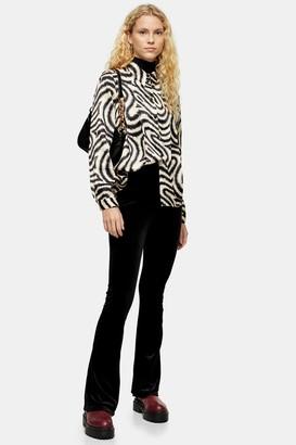 Topshop Black Velvet Flare Trousers