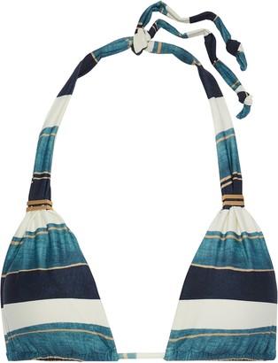 Vix Paula Hermanny Bia Ruched Striped Triangle Bikini Top