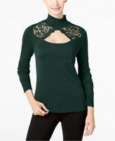 Thalia Sodi Lace-Trim Cutout Sweater, Only at Macy's