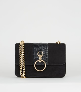 New Look Suedette Faux Croc Panel Shoulder Bag