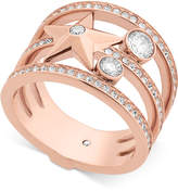 Michael Kors Rose Gold-Tone Stainless Steel Crystal and Star Ring