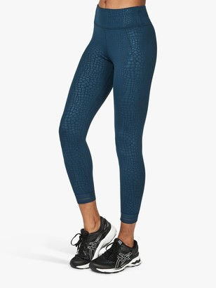 Sweaty Betty Embossed Croc 7/8 Leggings, Blue