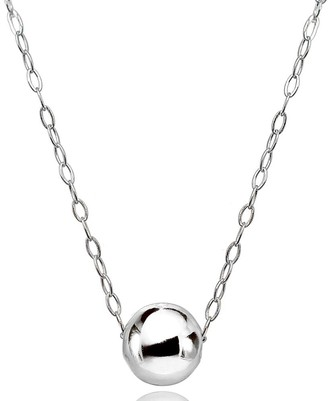 Mondevio High Polished 7mm Ball Bead Slide Necklace in Sterling Silver
