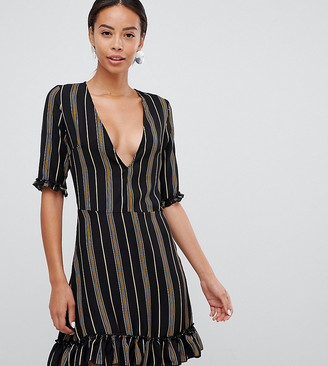 Parisian Tall v-neck stripe print dress with frill details-Multi
