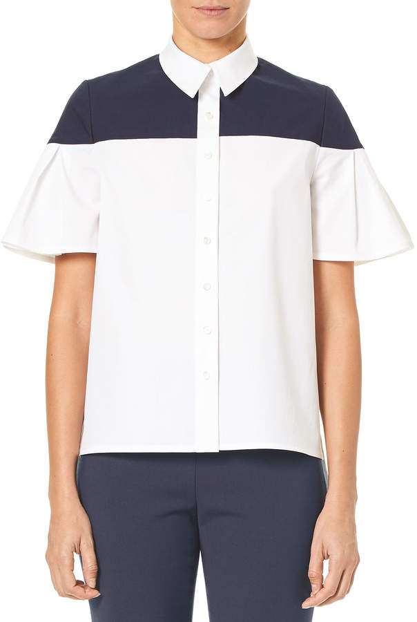 Carolina Herrera Flutter-Sleeve Button-Down Cotton Blouse