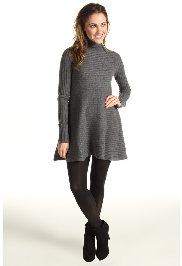 Autumn Cashmere Flared Rib Dress (Bankers Grey) - Apparel