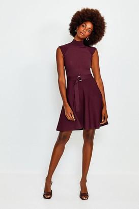 Karen Millen High Neck Knitted Skater Dress