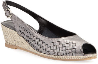 Sesto Meucci Manie Woven Metallic Demi-Wedge Pumps