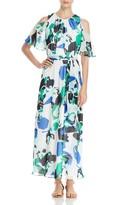 Calvin Klein Abstract Print Cold Shoulder Maxi Dress