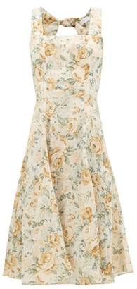 Ephemera - Troika Cutout-back Floral-print Linen Dress - Womens - Yellow Multi