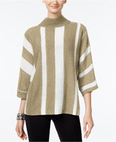 NY Collection Mock-Neck Striped Sweater