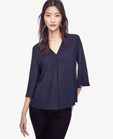 Ann Taylor Matte Jersey Pleated Top