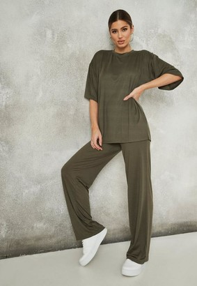 Missguided Khaki Jersey T Shirt And Pants Co Ord Set
