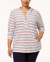 Tommy Hilfiger Plus Size Cotton Striped Tunic Hoodie, Created for Macy's