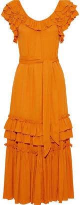 Marissa Webb Elio Belted Ruffled Crepe Midi Dress