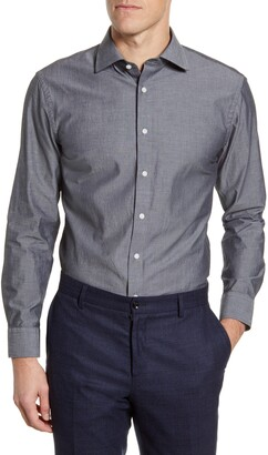 The Tie Bar Trim Fit Solid Chambray Dress Shirt