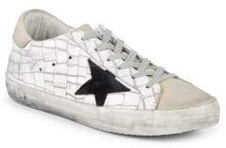 Golden Goose Geometric-Print Leather Low-Top Sneakers