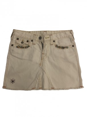 True Religion Ecru Cotton Skirt for Women