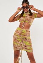Missguided Nude Dragon Print Mesh Ruched Side Mini Skirt