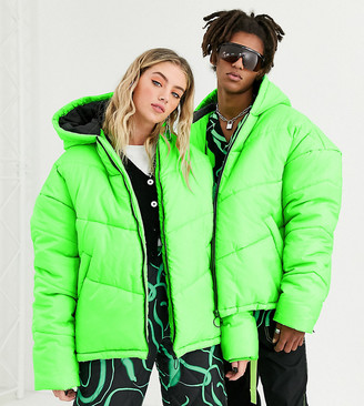 COLLUSION Unisex cocoon puffer jacket in green