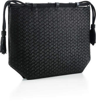Tiffany & Co. Elsa Peretti pouch in black leather with lacquered Open Hearts