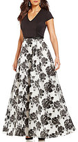 Ignite Evenings V-Neck Short Sleeve Empire Waist Floral Organza Ballgown