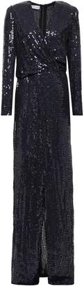Galvan Vera Wrap-effect Sequined Silk-chiffon Gown