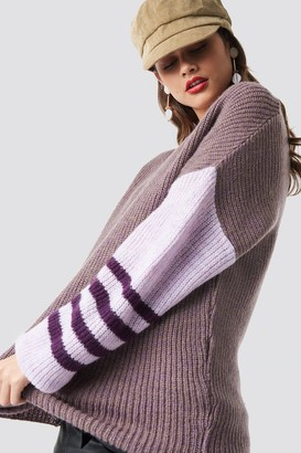 NA-KD Color Striped Sleeve Detail Knitted Sweater