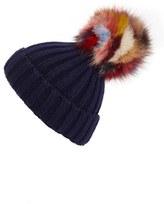 Jocelyn Women's 'Super Swirl' Knit Beanie With Genuine Fox Fur Pom - Blue