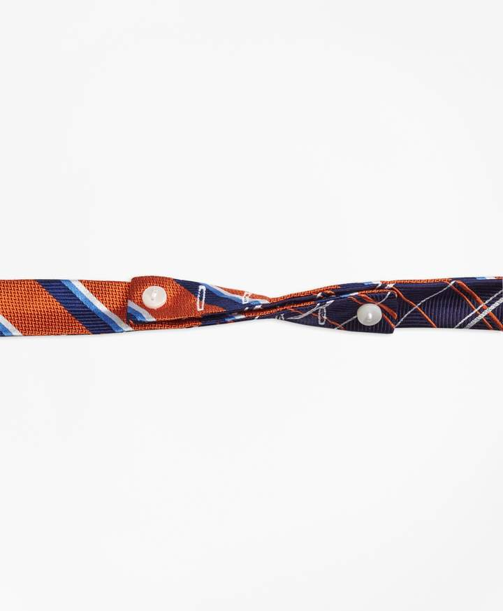 Brooks Brothers Sidewheeler Double Stripe with Double Alternating Windowpane Reversible Bow Tie