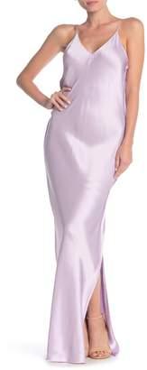 Helmut Lang V-Neck Sleeveless Satin Maxi Slip Dress