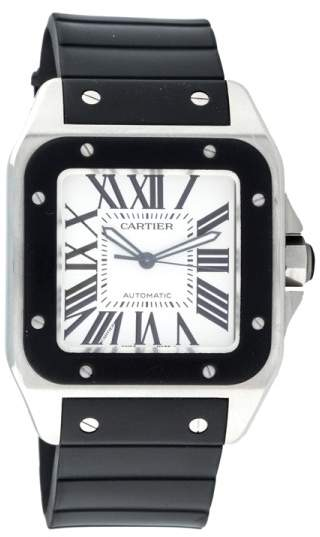 Cartier Santos 100 XL Stainless Steel and Black Rubber 51mm Watch