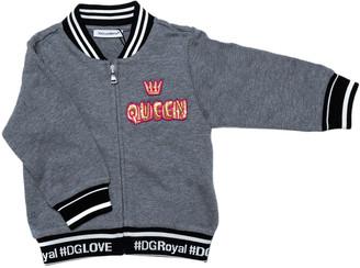 Dolce & Gabbana Grey Cotton Queen Bomber Jacket 6-9 Months