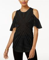 Bar III Cold-Shoulder Sheer Burnout Top, Created for Macy's