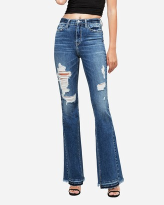 Express Flying Monkey High Waisted Ripped Flare Jeans